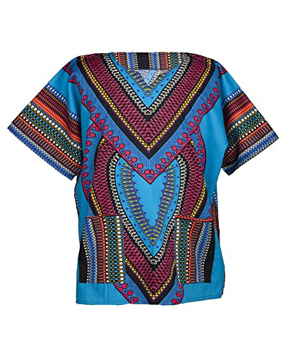 Lofbaz - Unisex Dashiki - Traditionelles Oberteil mit afrikanischem Druck XS Heart Blau