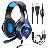 Cuffie Gaming per PS4 PC,Cuffie da Gioco, Stereo Gaming Headset, Samoleus 3.5mm Jack Cuffie Gamer con Microfono per Nintendo Switch,Computer,Laptop,Mobilephones, Mac,Playstation 4 (Blue)