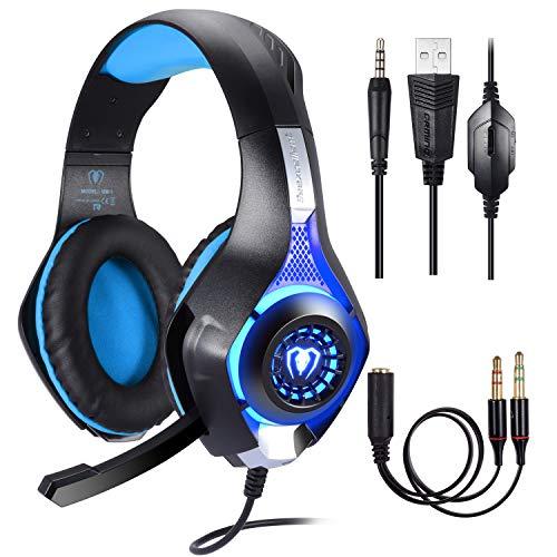 Cuffie Gaming per PS4 PC,Cuffie da Gioco, Stereo Gaming Headset, Samoleus 3.5mm Jack Cuffie Gamer con Microfono per Nintendo Switch,Computer,Laptop,Mobilephones, Mac,Playstation 4 (Blue)