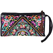 edf014308 Tinksky Vintage mujer étnica monedero cartera bolsa mariposa flor teléfono