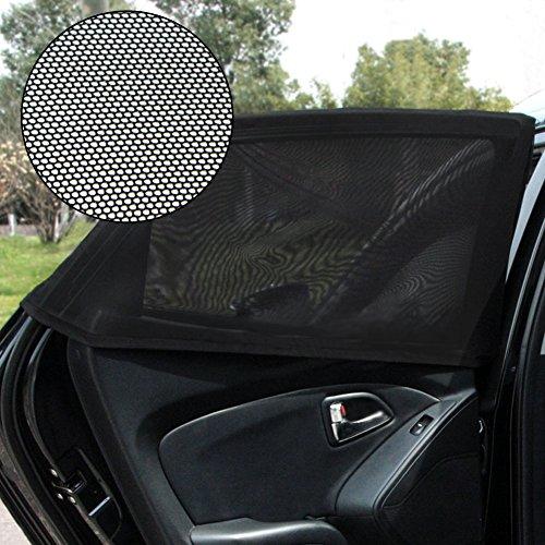 Preisvergleich Produktbild ele ELEOPTION Auto Sonnenschutz 2 Paar 4 Stücke Seitenscheibe Universal Autofenster Sonnenschutz Exzellente Abdeckung schwarz Gaze-Netz-Sonnenschutz UV-Schutz perfekt für Fahrer Kinder und Baby (2)