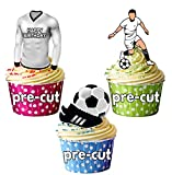 """AK Giftshop Kuchendekorationen, vorgeschnitten, Fußball-Motive, Aufschrift """"Happy Birthday"""",essbare Aufsetzer für Cupcakes und Kuchen, Clubfarben von Real Madrid, 12Stück."""