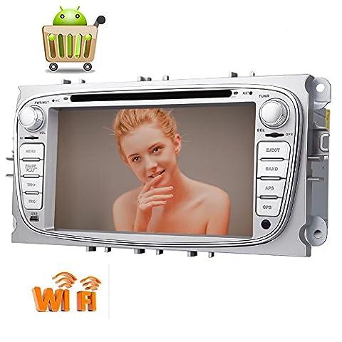 Android 6.0 Double pur 2 Din voiture lecteur stéréo DVD pour Ford Focus S-max 2008-2012 2008-2010 2010-2012 Galaxy avec 7 '' écran tactile de navigation GPS Bluetooth Radio 1080P WiFi OBD2 MirrorLink avec entrée double caméra