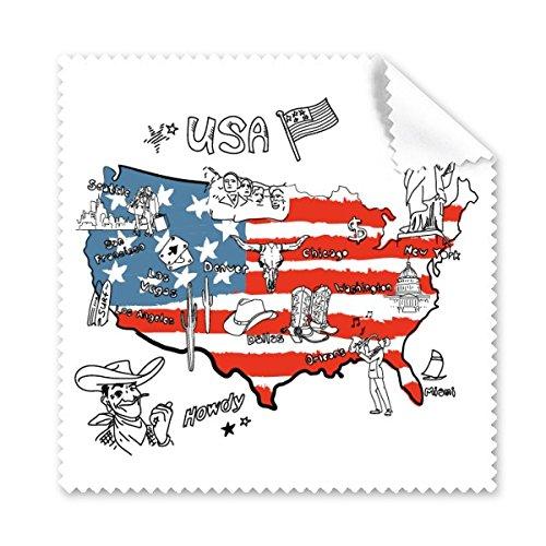 America Map Flag Landmark Statue of Liberty Wort Illustration Muster Brille Reinigungstuch Reinigungstuch Handy-Display von 5x