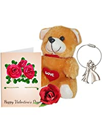 Sky Trends Valentine Gift For Friend Greeting Card Metal Keychain Soft Teddy & Artificial Rose Best Gift For Friend's