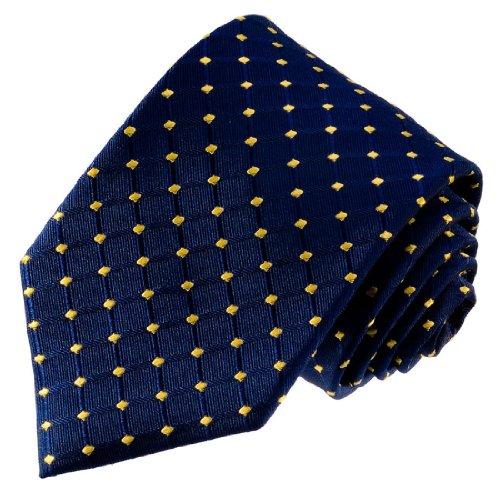 LORENZO CANA - Luxus Marken Krawatte aus 100% Seide - handgefertigte Seidenkrawatte - blau gold Karos Punkte - 77085