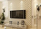 Continental Kunstleder Effekt PVC-Tapeten Wohnzimmer TV Wandverdickung stereoskopische 3D-Tapete 10mx53cm (weiß)