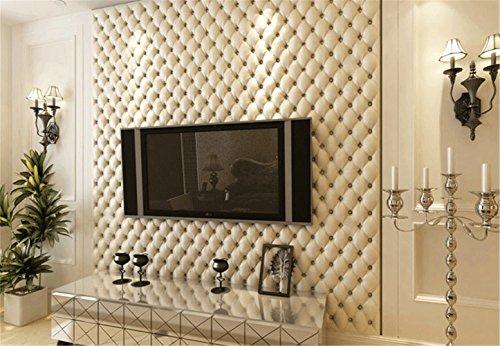 *Continental Kunstleder Effekt PVC-Tapeten Wohnzimmer TV Wandverdickung stereoskopische 3D-Tapete 10mx53cm (weiß)*