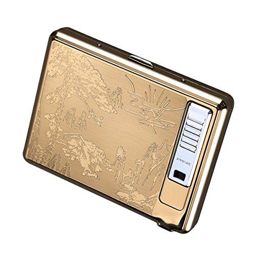 ui Feuerzeug, Metall Full Pack 20Regular Zigaretten Box Halter USB wiederaufladbare Zigarettenanzünder Flammenlose winddicht mit USB-Kabel Best für Geburtstag Geschenke Pinus (Tin Man-anzug)