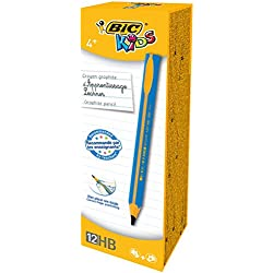 BIC Kids Jumbo Triangular Learner Lápices de Grafito HB - Diseño en Azul, Caja de 12 unidades