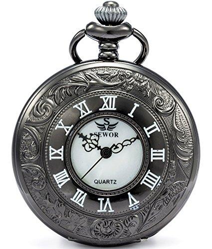 SEWOR Kleid Hohl Fall Shell Zifferblatt Japanisches Quarz-Uhrwerk Taschenuhr mit Fashion Double Kette (Metall & Leder) (Schwarz)