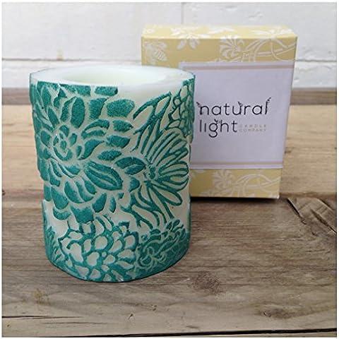 Cera de abejas velas, velas, velas, velas de boda decoración del hogar de regalo, comercio justo–Floral Mini Pilar Aqua