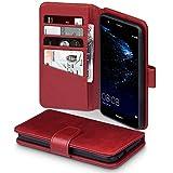 Terrapin, Kompatibel mit Huawei P10 Lite Hülle, [ECHT LEDER] Brieftasche Case Tasche mit Standfunktion Kartenfächer und Bargeld - Rot