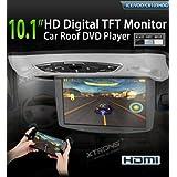 Xtrons Dvd techo 10,1 pulgadas, reproductor dvd con lector Sony,  juego de apoyo, lector USB, SD, luz de cortesía, transmite en FM e ir más altavoces integrados, Entrada y salida audio video