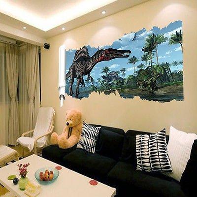 Wandtattoo Wandbild Kinderzimmer Dinosaurier Landschaft Sticker 3D Ära Dinosaur(38)