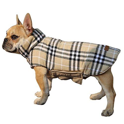 Haustier hunde kapuzenpullis kleider reversible hund kälte mäntel outfit karierten wasserdicht winddichte warm hund weste jacke - kostüme (Klassische Jacke Accessoires)