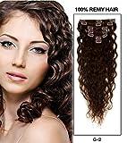 Große Förderung! Romantic Angels® Clip In Extensions Deep Curly Echthaar Set 7 teilig 70g Haarverlängerung 50 cm dunkelbraun#2