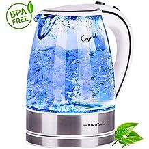 TZS First Austria - 2200 Watt Glas Edelstahl Wasserkocher 1,7 Liter blaue LED Beleuchtung 360 Grad, kabellos, Kalkfilter, BPA Frei, weiß