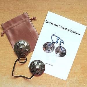 Cymbales Tingsha avec pochette de rangement et des Instructions (en anglais)