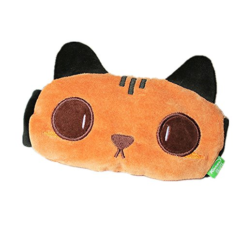 zzz Cartoon Super Weiche Plüsch Big Eyes Cat Stickerei Kurz Schlafen Brille Free Size Braun