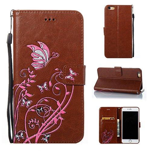 iPhone 6 Plus/6S Plus Coque, Voguecase Étui en cuir synthétique chic avec fonction support pratique pour Apple iPhone 6 Plus/6S Plus 5.5 (Papillons VI-Papillons orange/Pink)de Gratuit stylet l'écran a Papillons VI-Papillons rose/Marron