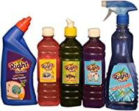 Right Choice Toilet Cleaner Liquid, 500 ml and Right Choice Vehicle Wash Liquid, 500 ml and Right Choice Dish Wash Liquid, 500 ml and Right Choice Fabric Wash Liquid, 500 ml and Right Choice Glass Cleaner Liquid, 500 ml (Combo of 5)