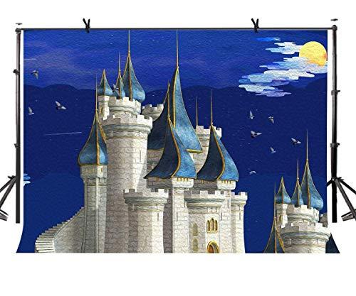 Märchenburg Kulisse Blau Ölgemälde Himmel Hintergrund für Baby Mädchen Geburtstag Thema Party Foto Hintergrund Raumdekor LYZY0194 ()