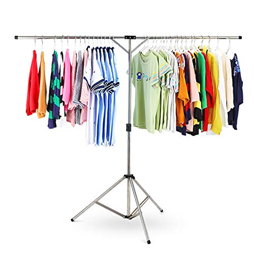Kimmyer Falten Kleidung Trocknung Rack Single-Bar Wäscherei Trocknung Rack Trocknungsraum Multi-Function Lufttrockner-Fully Adjustable Edelstahl-Rack-Indoor und Outdoor -