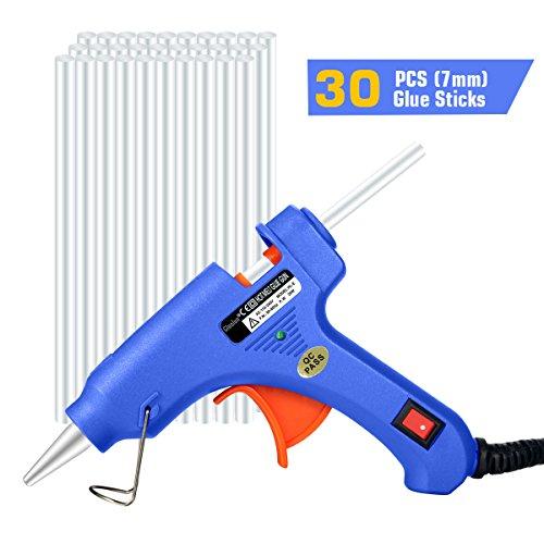 Glunlun Mini Pistola Colla a Caldo con 30 Bastoncini Colla a Caldo, Pistola Incollatrice Alta Temperatura per Fai Da Te Uso Domestico o Ufficio, 20-watt.
