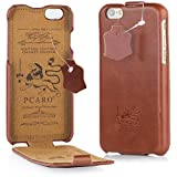 PCARO® Smooth Jazz Echtleder Hülle für Apple iPhone X - Handmade (Rindsleder) Leder Tasche in Cognac - Ledertasche - Original Cover