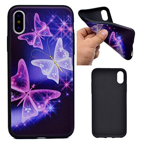Cover iPhone X, Voguecase, Custodia Silicone Morbido Flessibile TPU Custodia Case Cover Protettivo Skin Caso Per Apple iPhone X(Nero - be happy 03) Con Stilo Penna Nero - farfalla luminosa