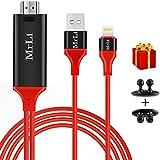 Lightning HDMI Adapter, MrLi Lightning HDMI Adapter zu TV 1080p Lightning zu HDMI Transmit Audio und Video Heimkino Transmit Audio und Video Heimkino TV Projektor (rot, 6,6ft)