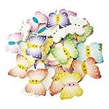 Baoblaze Gemischte Farben Schmetterling Holzknopf 2 Löcher Holz Knöpfe Dekoknöpfe Kleidung Deko DIY Basteln Nähen 100St.