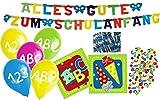 20 Servietten + Girlande + 6 Luftballons + Konfetti zum Schulanfang