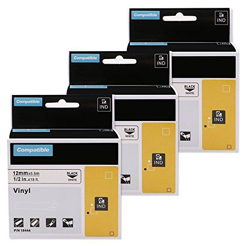 Label - Online 3 Roll Kompatibel mit Dymo 18444 S0718600 Rhino Industrial Labels Vinyl 12 mm x 5,5 m Schwarz auf Weiß Klebstoff für Dymo Rhino Industriedrucker 1000 3000, 4200, 5000, 5200, 6000