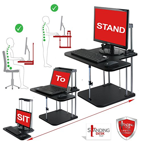 Standing Desk Hub Sit Stand Desk Converter Adjustable to any height; Pro Uplift Computer Workstations for Home and Office Use Plus LIMITED OFFER desktop cellphone holder & Standing Desk Health Guide