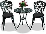 Centurion Supports Bangui jardín y patio mesa y 2sillas de aluminio fundido Bistro Set con lujo resistente al agua relleno de cojín, negro