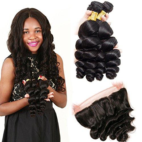 Loose Wave Human Hair Bundle Weave Bundles With Closure Real Human Hair Weft Bundles Virgin Hair Weave With Bundles And Closure Hair Weaves For Black Women 22 24 26+18 Closure -