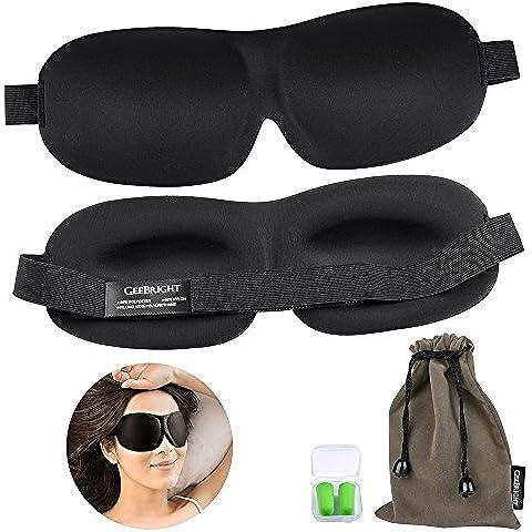 Ankway la máscara de ojo del sueño 3D máscara máscaras de espuma viscoelástica suave para dormir con tapones para los oídos acústicos libres (Negro, Paquete de