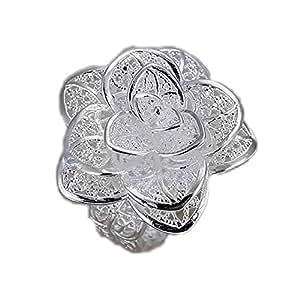 Au Marché du Luxe - Bague argent 925 fleur dentelle taille ajustable réglable