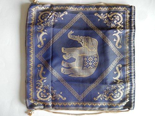 Turnbeutel, Sportbeutel, Rucksack aus Baumwolle, gewebt mit Elefanten Muster - verschiedene Farben Blau