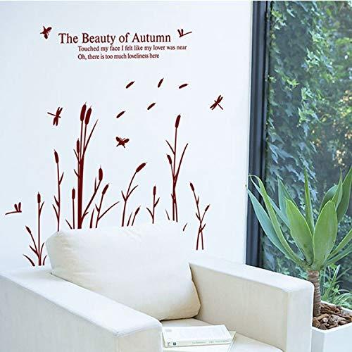 GUDOJK PVC Reed Flowers die Schönheit des Herbstes Wandaufkleber Home House Windows Removable Wall Decal Aufkleber DIY