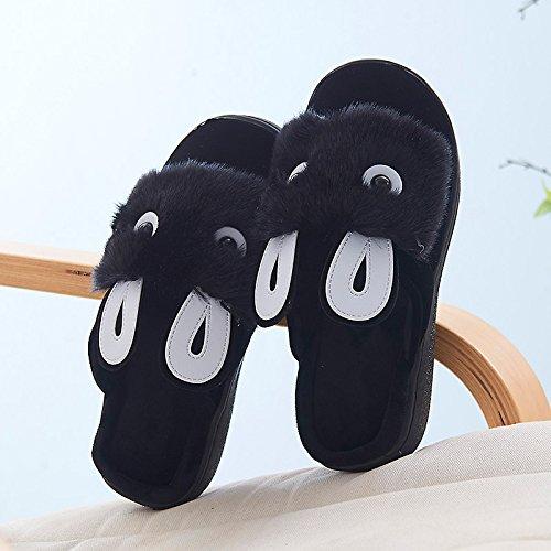 Y-Hui Autunno e Inverno Piscina Home caldo, Anti-Skid, fondo spesso, uomini e donne amanti di cotone pavimento Pantofole black