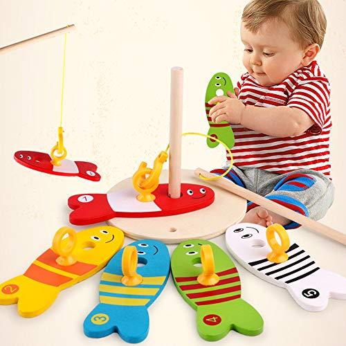 lustiges Spielzeug, ALIKEEY Baby Kinder Angeln Nest Spiel Digital Angeln Holz Angeln Sets pädagogisches Spielzeug