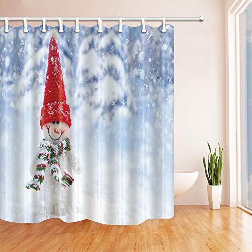 Nyngei Weihnachten Duschvorhänge für Bad Schneemann mit Red Hat Schneeflocken Hintergrund Polyester Stoff Wasserdicht 180X180 cm -