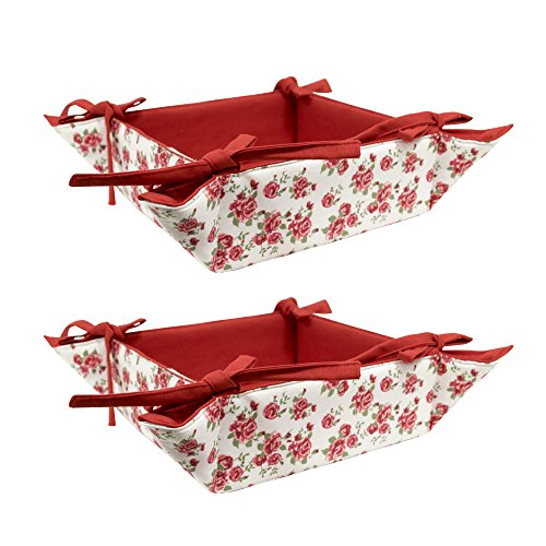 ELAN Rose Print Fruit Basket 20 X 20 X 7 CM (Set of 2)