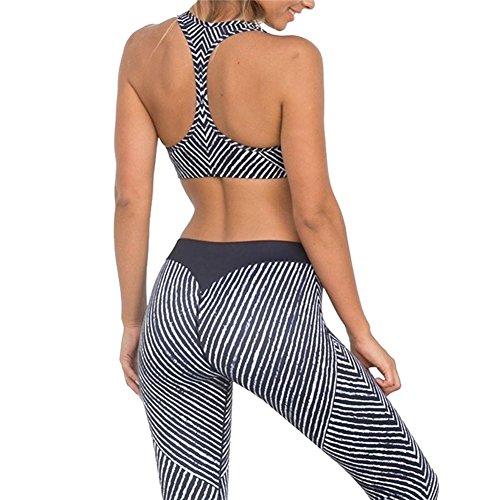 2 Stücke Frauen Yoga Gym Fitness Trainingsanzug Kleidung Sets, Mode Sportwear Tanks Tops und Jogginghose Skinny Leggings 2 stücke Sportanzug Casual Anzug Weiß / Schwarz (Schwarz Stück Anzug 2)