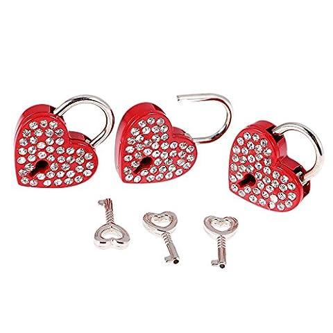 MagiDeal Lot 3pcs Cadenas à Clé de Strass Brillant Forme de Coeur Rouge Style Insolite pour Bagage Valise Voyage Casier Boîte à Bijoux