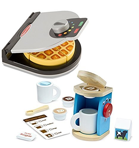 Melissa Doug and Melissa Doug Bundle Includes 2 Items - Melissa & Doug Press and Serve Wooden Waffle Set (23 pcs) - Play Food and Kitchen Accessories and Melissa & Doug 11-Piece Brew and Serve Wooden Coffee Maker Set