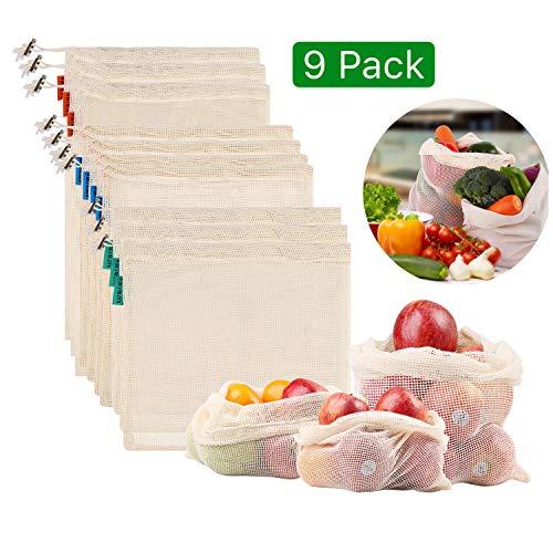 Meiruier Bolsa Reutilizable Algodon de Vegetales,Bolsa de Malla Lavable,Bolsas Reutilizables Compra, Bolsas de Malla Transpirables Adecuado para Frutas y Verduras Productos Frescos 9pc(2*S/5*M/2*L)